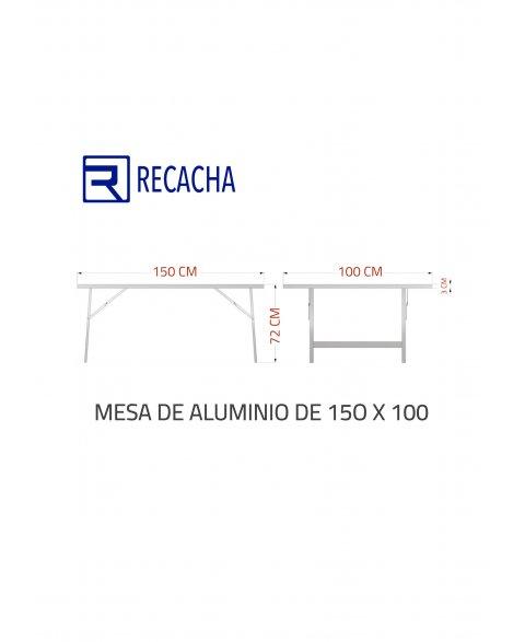 Mesa de aluminio para mercado 150 x 100 (cotas)