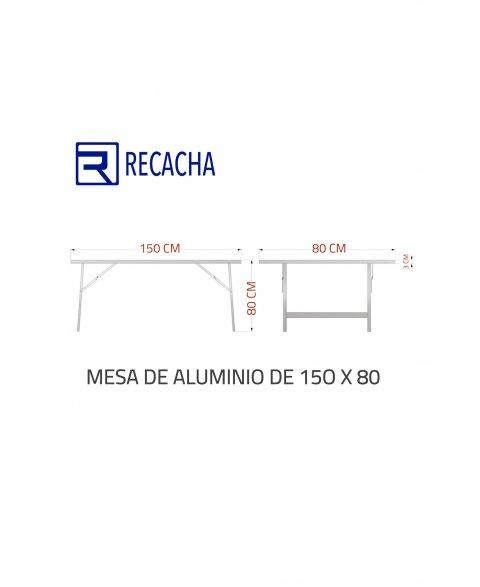 Mesa de aluminio para mercado 150 x 80 (cotas)