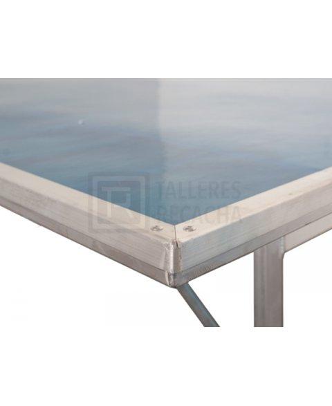 Mesa de aluminio para mercado (detalle de borde)